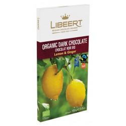 Libeert Bio - hořká čokoláda se zázvorem a citrónem 100g